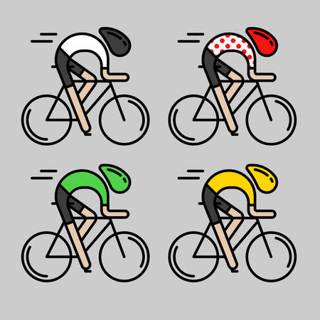 Four flat bicyclists, side view