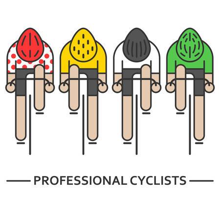 Vier platte fietsers Vector Illustratie