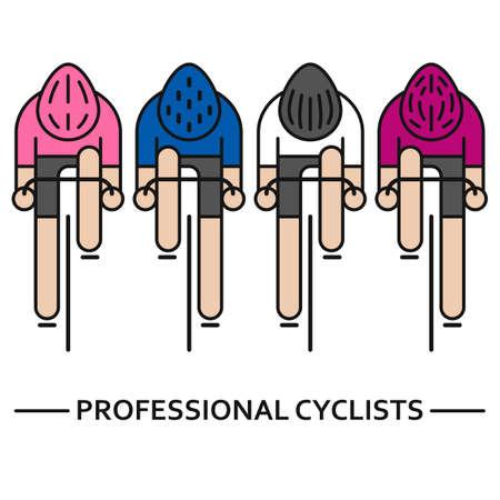 Four flat bicyclists Ilustracja