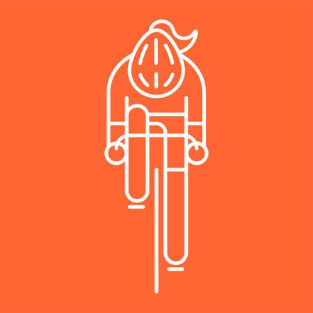 Modern Illustration of woman cyclist Illustration