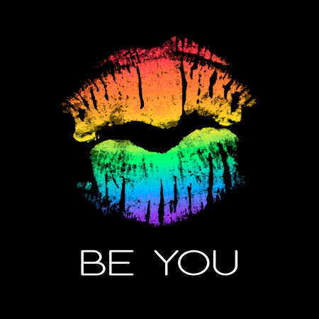 LGBT support poster with rainbow lipstick imprint