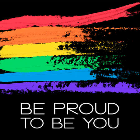 Conceptual poster with rainbow flag and lettering