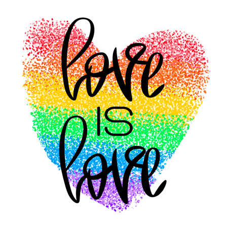 Conceptual poster with lettering and rainbow heart Illustration
