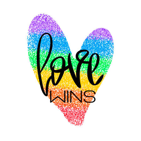 Conceptual poster with lettering and rainbow heart Ilustracja