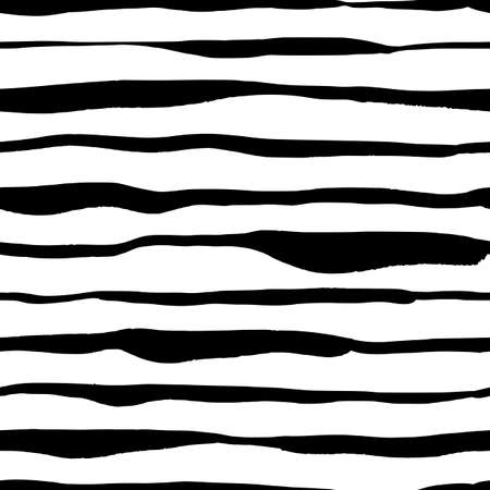 Modern striped seamless pattern with handdrawn strokes. Hand painted grungy ink lines in black and white colors. Trendy endless texture for digital paper, fabric, backdrops, wrapping