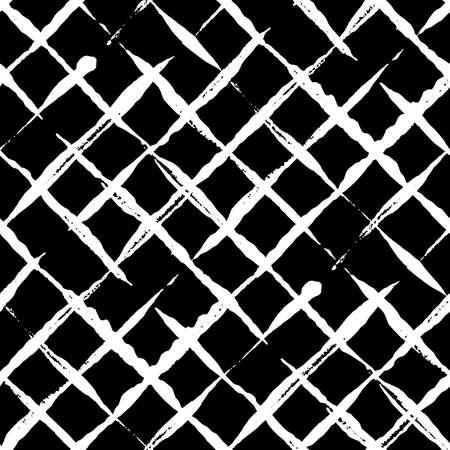 Trendy handdrawn checkered seamless pattern. 矢量图片