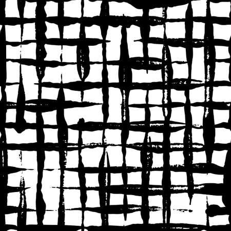 Patrón transparente a cuadros dibujado a mano moderno. Ornamento interminable rayado desordenado con trazos negros pintados a mano sobre fondo blanco. Diseño de vector elegante para tela, papel tapiz, envoltura