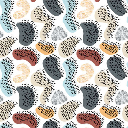 Modern abstract seamless pattern. Colorful endless ornament with chaotic hand painted spots and polka dots on white background. Stylish vector design for fabric, wallpaper, wrapping