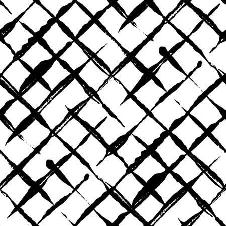 Modern handdrawn diagonal checkered seamless pattern. Messy striped endless ornament with black hand painted strokes on white background. Stylish vector design for fabric, wallpaper, wrapping