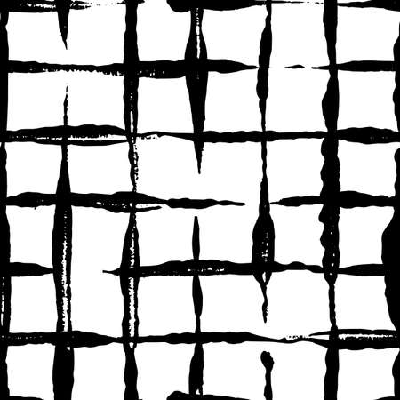 Modern handdrawn checkered seamless pattern. Messy striped endless ornament with black hand painted strokes on white background. Stylish vector design for fabric, wallpaper, wrapping