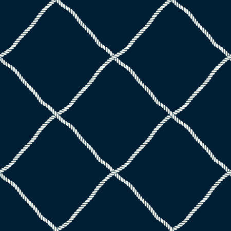Seamless nautical rope pattern. Endless navy illustration with light cords ornament. Marine fishing net on dark blue backdrop. Trendy maritime style background. For fabric, wallpaper, wrapping