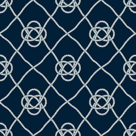 Seamless nautical rope pattern. Endless navy illustration with light cords ornament. Marine ornate fishing net on dark blue backdrop. Trendy maritime style background. For fabric, wallpaper, wrapping