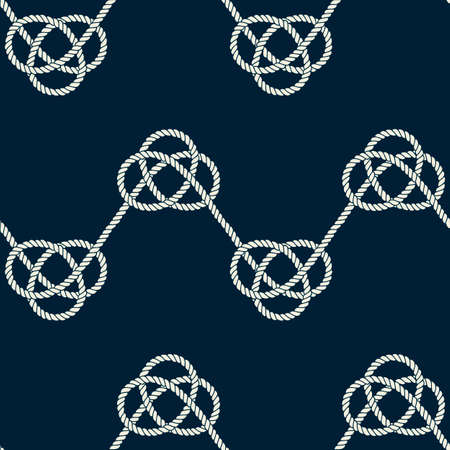 Seamless nautical rope pattern. Endless navy illustration with light cords ornament. Marine zigzag loops on dark blue backdrop. Trendy maritime style background. For fabric, wallpaper, wrapping