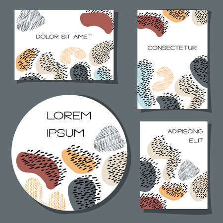 Set of 4 abstract universal cards. Colorful handdrawn shapes on white. Editable template for wedding, birthday, party. Trendy vector design for posters. Same style for A4, Letter and circle formats