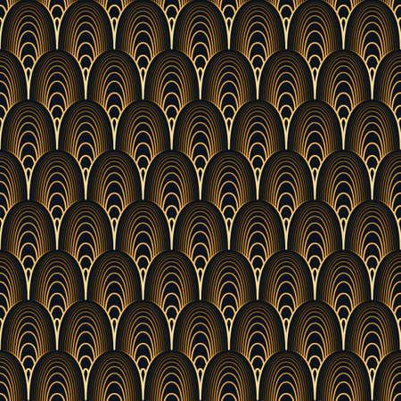 Art Deco seamless pattern. Gold on black