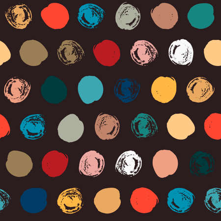 Seamless polka dot pattern. Dry brush painted circles with rough edges. Trendy hipster texture. Hand drawn endless stylish backdrop. Colorful shapes on black background for fabric, wallpaper, wrapping