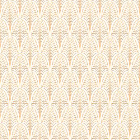 Art Deco nahtloses Muster. Gold auf Weiß
