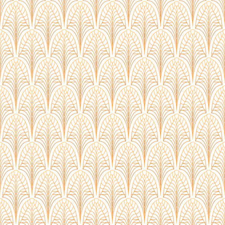 Art Deco seamless pattern. Gold on white Illusztráció