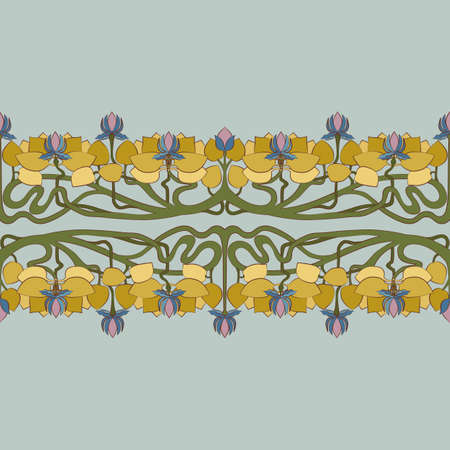 Art Deco floral seamless pattern. Stylized lotus flowers with leaves and interlaced stems on grey background. Pastel colors ornament. Vector vintage Atr Nouveau design for fabric, wallpaper, wrapping Ilustracja