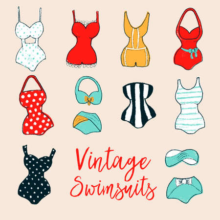 Set of 10 hand drawn swimsuits. Dry brush painted swimwear with rough edges. Handdrawn endless stylish backdrop. Colorful vector elements isolated on pink background for fabric, wallpaper or wrapping