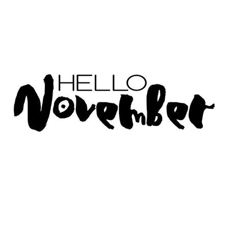 Handdrawn lettering element. Decorative black handlettering isolated on white background. Trendy modern ink calligraphy. Hand drawn rough phrase. Hello November - Months collection - vector.