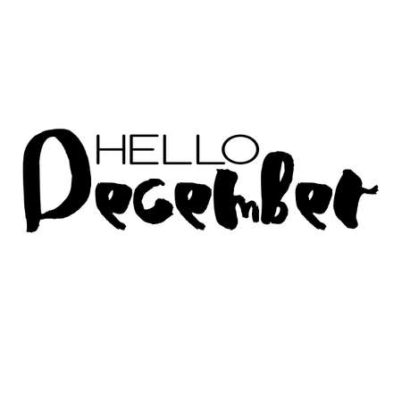 Handdrawn lettering element. Decorative black handlettering isolated on white background. Trendy modern ink calligraphy. Hand drawn rough phrase. Hello December - Months collection - vector.