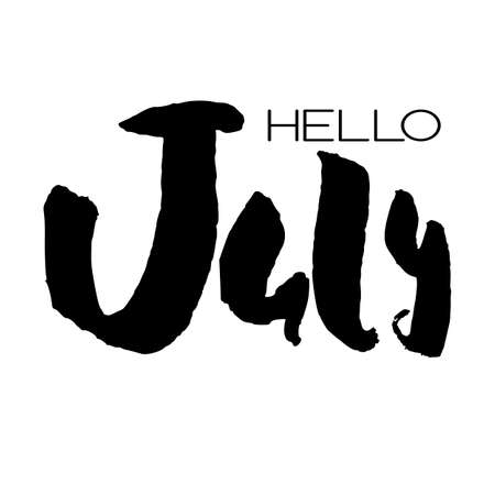 Handdrawn lettering element. Decorative black handlettering isolated on white background. Trendy modern ink calligraphy. Hand drawn rough phrase. Hello July - Months collection - vector.