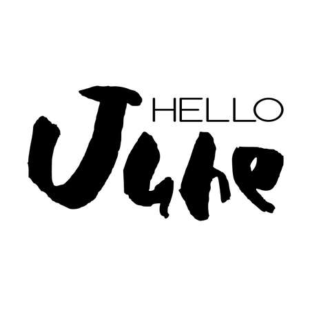 Handdrawn lettering element. Decorative black handlettering isolated on white background. Trendy modern ink calligraphy. Hand drawn rough phrase. Hello June - Months collection - vector. Ilustracja