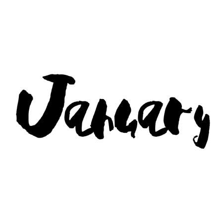 Handdrawn lettering element. Decorative black handlettering isolated on white background. Trendy modern ink calligraphy. Hand drawn rough phrase. January - Months collection - vector.