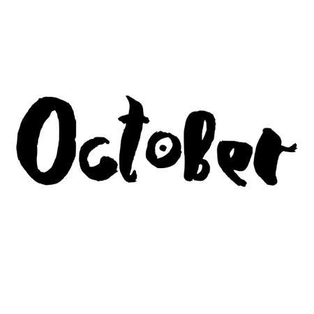 Handdrawn lettering element. Decorative black handlettering isolated on white background. Trendy modern ink calligraphy. Hand drawn rough phrase. October - Months collection - vector. Ilustracja