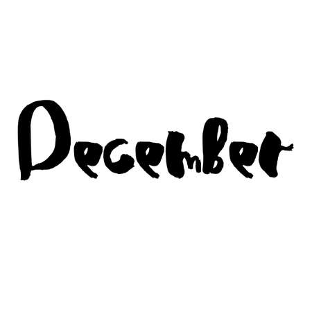 Handdrawn lettering element. Decorative black handlettering isolated on white background. Trendy modern ink calligraphy. Hand drawn rough phrase. December - Months collection - vector.