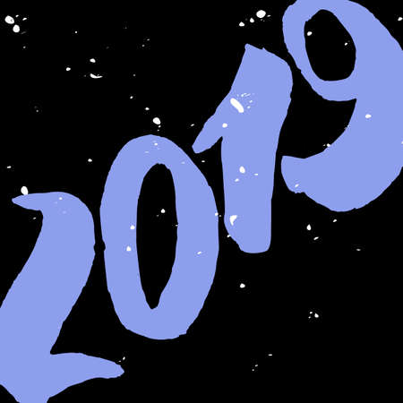 2019 - New Year Lettering with doodle on black