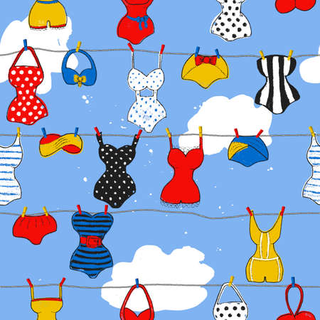 Trendy vector seamless pattern with cute swimsuits