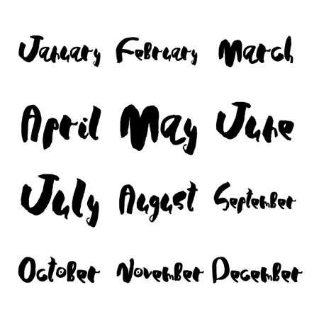 Hand drawn lettering element, months set, vector