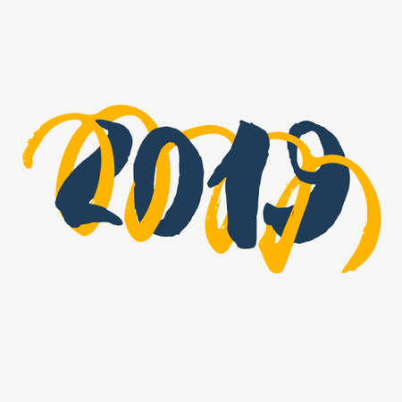 2019 - New Year Lettering with doodle on white