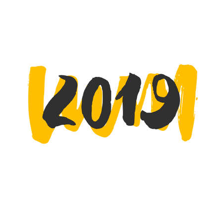 2019 - New Year Lettering. Handdrawn black logo with yellow curl isolated on white background. Trendy Vector design element for poster, calendar, greeting cards