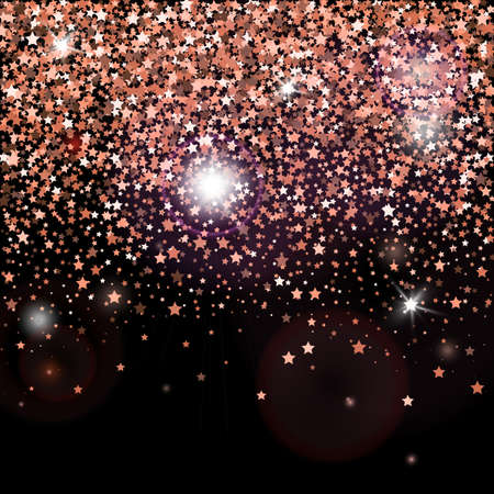 Decorative poster template with bright rose gold glitter stars. Falling down sparkles and flare isolated on black background. Vector backdrop for card, decor, advertising Ilustracja