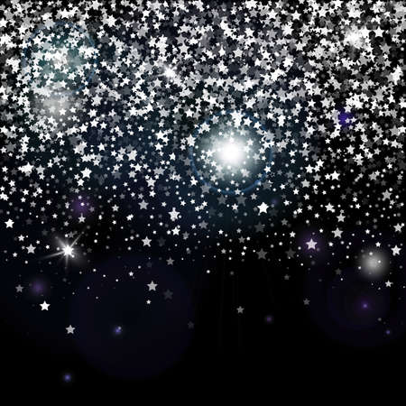 Decorative poster template with bright grey silver glitter stars. Falling down sparkles and flare isolated on black background. Vector backdrop for card, decor, advertising Ilustracja