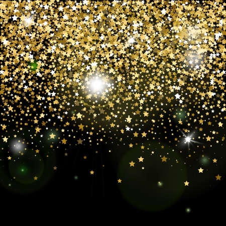 Decorative poster template with bright yellow gold glitter stars. Falling down sparkles and flare isolated on black background. Vector backdrop for card, decor, advertising Ilustracja