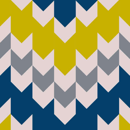 Seamless pattern with knitting texture. Blue, yellow and white fair isle ornament. Vector design for fabric, wallpaper, wrapping