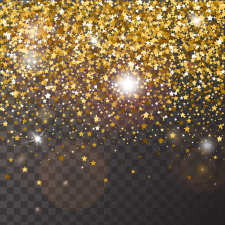 Decorative poster template with bright yellow gold glitter stars. Falling down sparkles and flare isolated on transparent background. Vector backdrop for card, decor, advertising