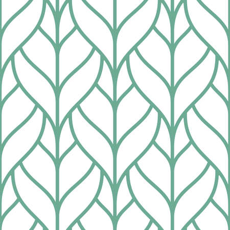 Decorative seamless pattern with green outline leaves. Tile ornament with linear foliage on white background. Vector design for fabric, wallpaper, wrapping or backdrop.