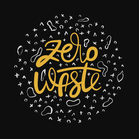 Handwritten lettering poster - Zero Waste. Hand drawn Yellow ink modern calligraphy with messy doodles circle isolated on black background. Handlettered Vector inscription.