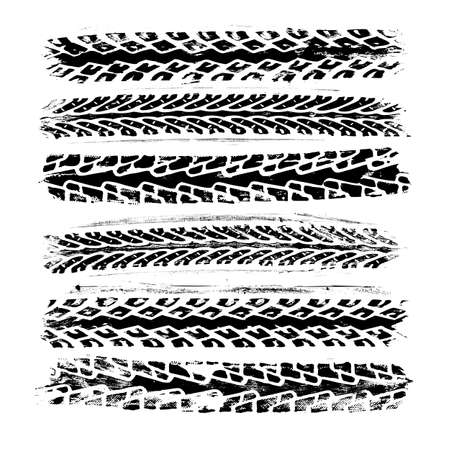 Set of 6 realistic tire track imprints. Black texture of real bicycle rubber isolated on white backgroung. Vector decorative design element