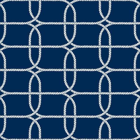 Motivo in corda nautica senza cuciture, bianco su blu scuro Vettoriali