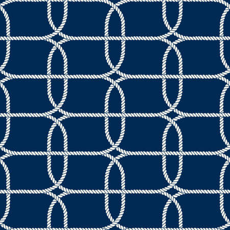 Seamless nautical rope pattern, white on dark blue