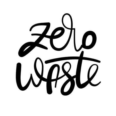 Lettering poster - Zero Waste, ink on white Illustration
