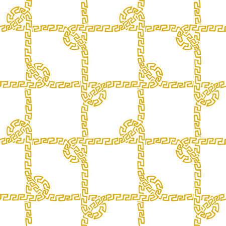 Seamless nautical rope pattern, golden on white 일러스트