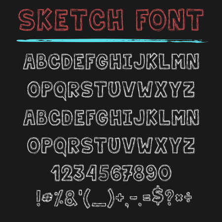 Sketch font, decorative latin alphabet type set.