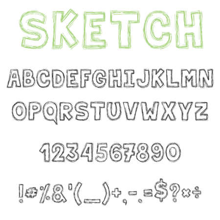 Sketch font, decorative latin alphabet type set.